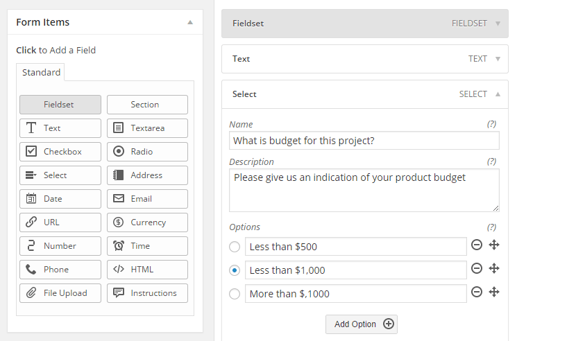 how to create drop down form wordpres