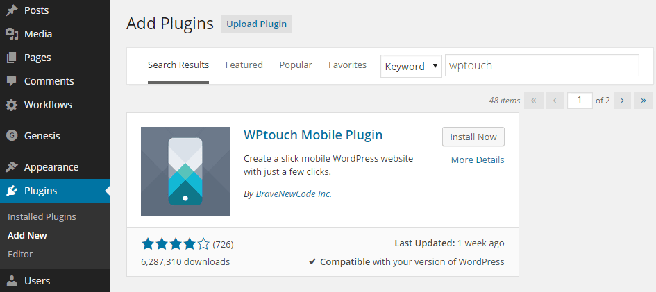 Install WPtouch