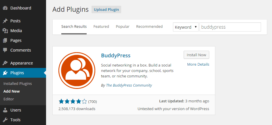 Add BuddyPress Plugin