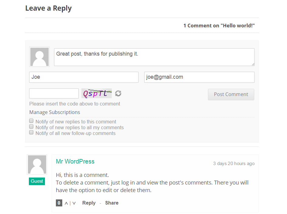 wpDiscuz: Free Alternative to the WordPress Comments Form