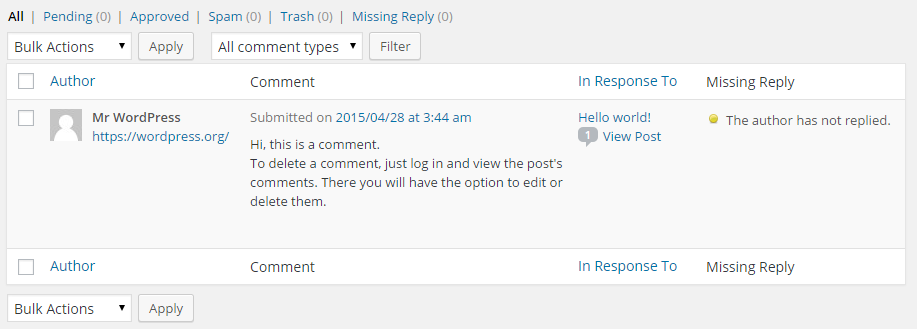 Comments Not Replied To Plugin