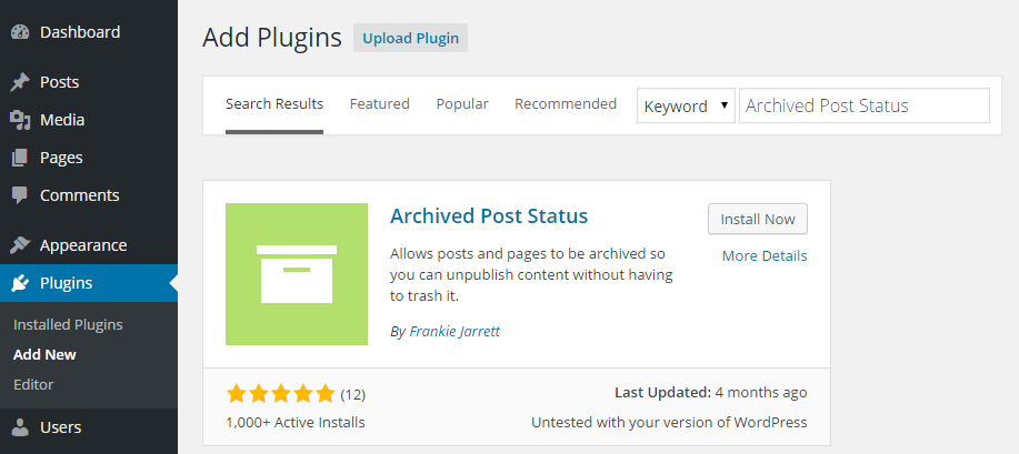 Archived Post Status Add Plugin