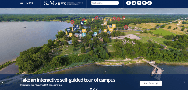Top University Websites Using WordPress: St. Mary's College of Maryland