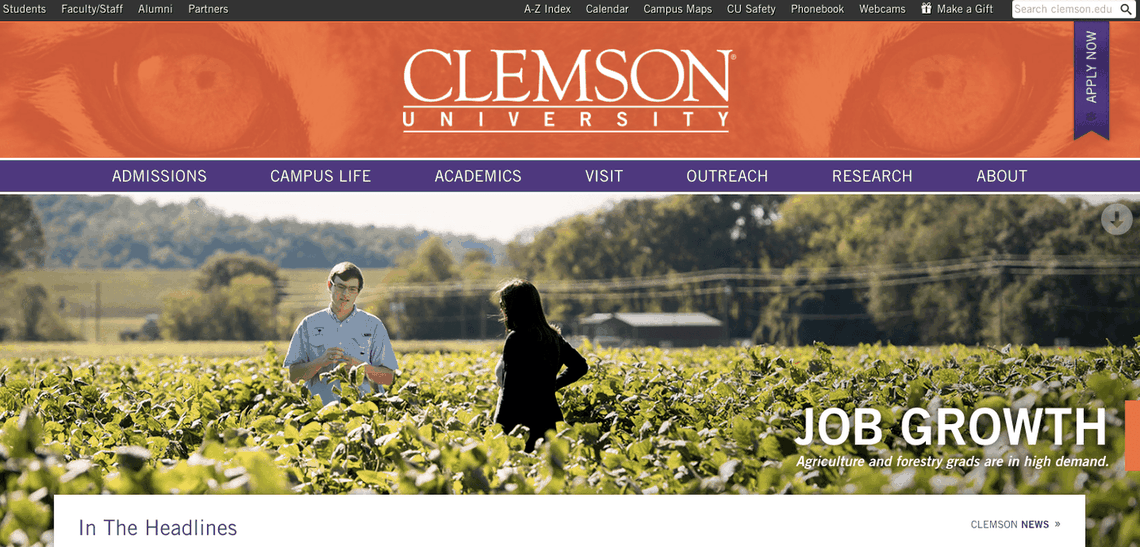 Top University Websites Using WordPress: Clemson