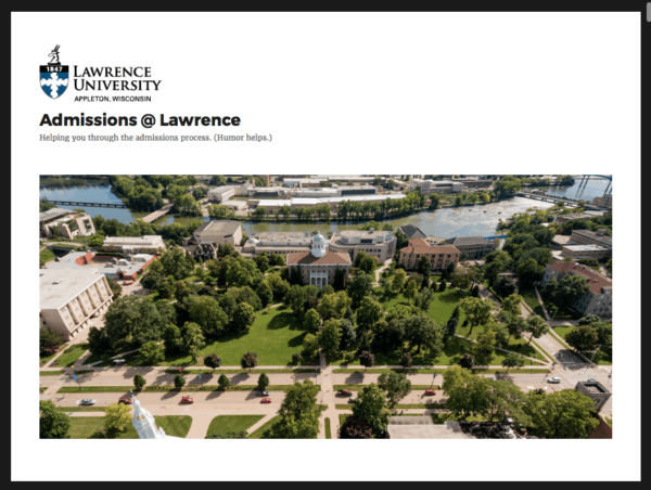 Lawrence University's Admissions blog.