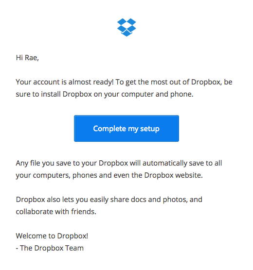 Dropbox complete setup email