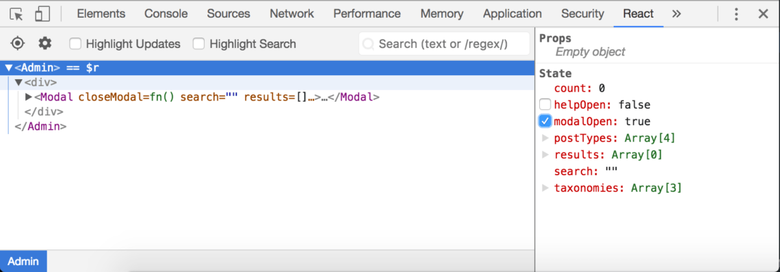 The State pane in the React panel